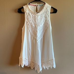 Maurices White Lacy Tank Top Sz Medium